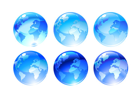 Vector Illustration of globe icons with different continents Vector