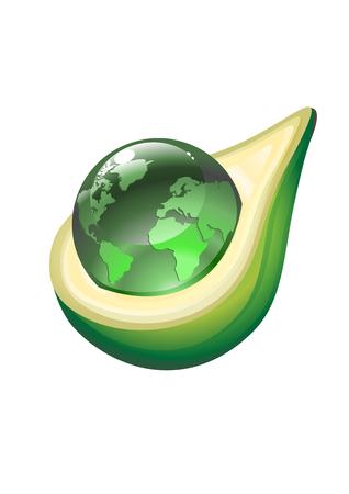 Vector Illustration of abstract globe insibe of green avocado. Vector