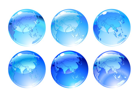Vector Illustration of globe icons with different countries. Vector