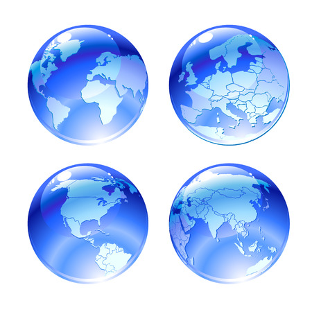 위도: Vector Illustration of globe icons with different continents.