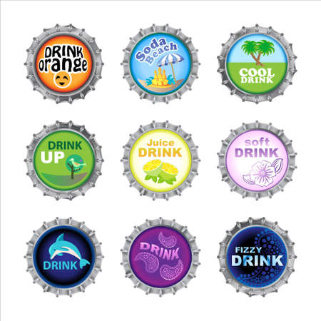 Vector illustration of bottle caps set, decorated with different objects. Vector