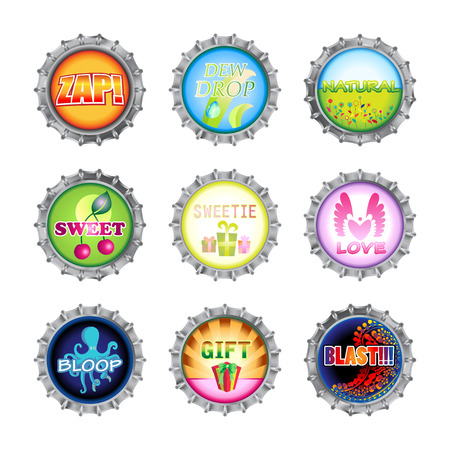 Vector illustration of bottle caps set, decorated with different objects. Stock Vector - 4966101