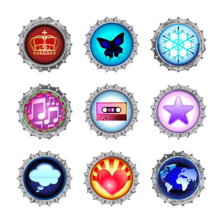 Vector illustration of bottle caps set, decorated with different objects. Stock Vector - 4966094