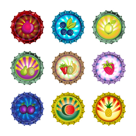Vector illustration of bottle caps set, decorated with different fruits. Vector