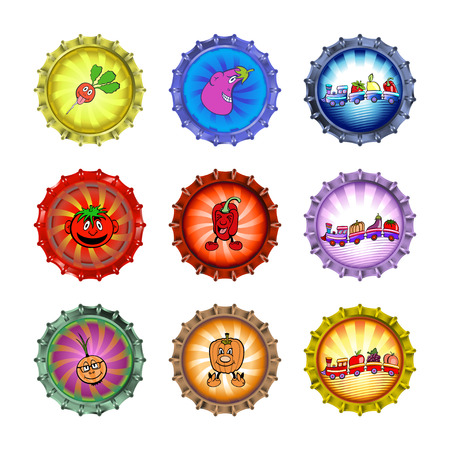 Vector illustration of bottle caps set, decorated with different vegetables and fruits. Vector