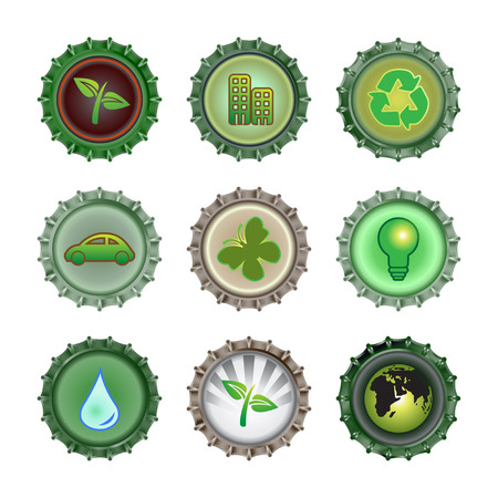 enviroment: Vector illustration of bottle caps set, decorated with different objects related to enviroment and ecology.