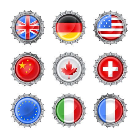 Vector illustration of bottle caps set, decorated with the flags of different countries