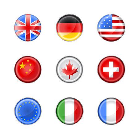 Illustrazione vettoriale del set di pulsanti rotondi, decorato con le bandiere di paesi diversi