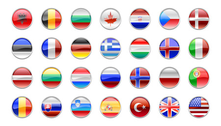 nato: Vector Illustration of round buttons set, decorated with the flags of the NATO countries.