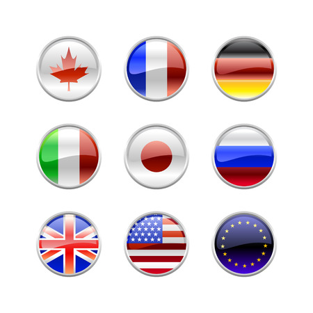 Vector Illustration of round buttons set, decorated with the flags of the world (G8). Vector