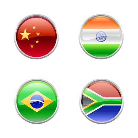 Vector Illustration of round buttons set, decorated with the flags of the world (G4). Vector