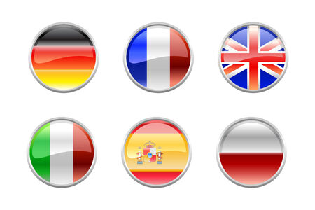 Vector Illustration of round buttons set, decorated with the flags of the world (G6). Vector