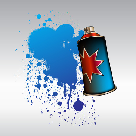 Vector Illustration of cool color spray aerosol, decorated with color drops. Vector