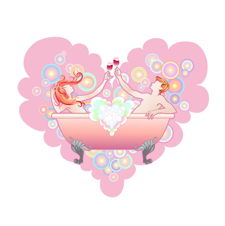 young girl bath: Vector illustration of  heart shape with  Two enamoured in a bathroom  Illustration