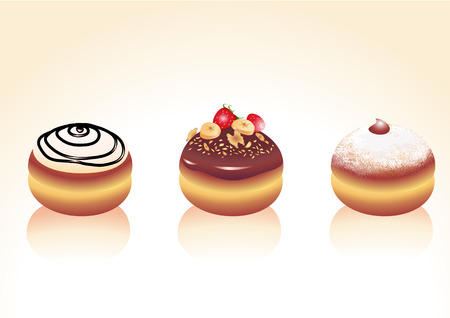Vector illustration of different kinds donut icons. Good for funny greeting cards