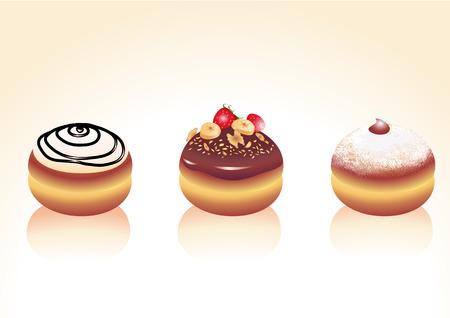 holiday cookies: Vector ilustraci�n de los iconos de los diferentes tipos de donuts. Bueno para las tarjetas de felicitaci�n divertida