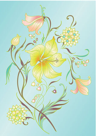 Vector Illuctration of colored floral elements on the navy blue background Vector