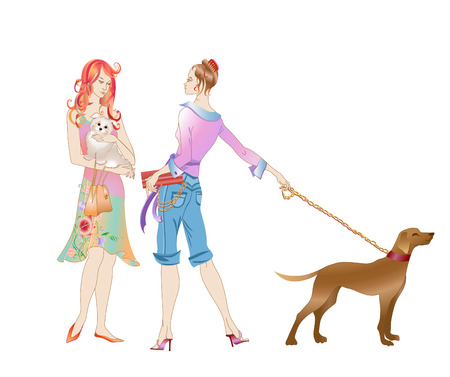 outdoor glamour: Vector illustration of two girls with the dogs talking on the street.