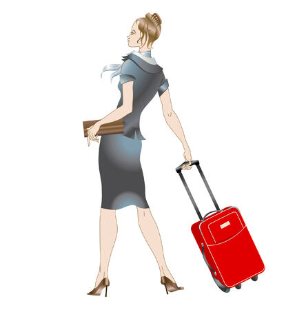 Vector illustration of women stewardess, walking with the suitcase. Vector