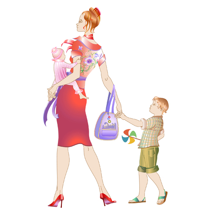 Vector illustration of young mother walking with her childrens.  Stock Vector - 4992031