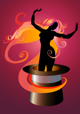Vector  Illustration of Girl Silhouette dancing on a Magicians top hat Stock Vector - 4992018
