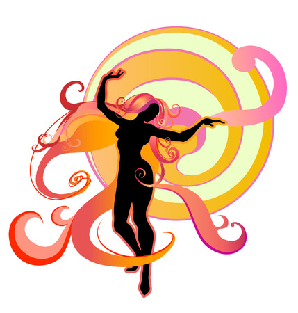 Vector  Illustration of Girl Silhouette dancing on a bright fantasy background