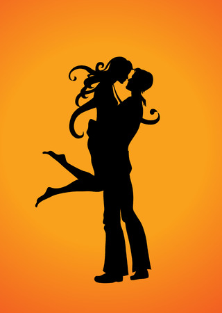 Vector  Illustration Silhouette of the romantic couple Vector