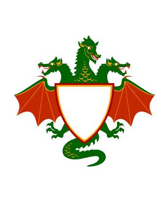 Vector  Illustration of dragon Shield  Emblem Vector