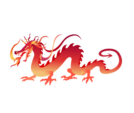 Vector  Illustration of angry red chinese dragon in a tattoo tribal style
