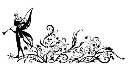 Ilustraciones Vectoriales Silueta de hada mágica con pífano en flor diseño