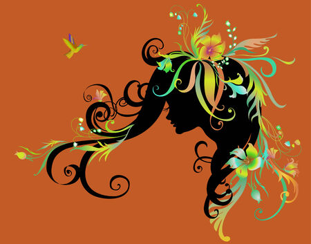 Vector Illuctration of Abstract beautiful girl with flowers in hair Vector