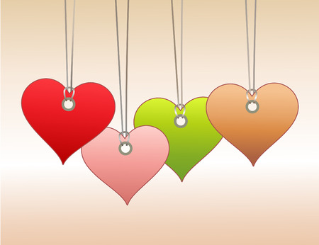 Vector Illuctration of  Colorful  labeltags in heart shape. You can use it for valentine`s day shopping concept . Vector