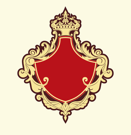 Vector Illuctration of Heraldic shield with floral Decorative ornament and crown on the top. Illustration