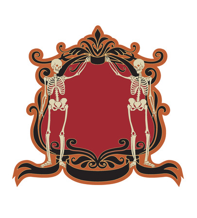 Vector Illuctration of floral frame with Decorative ornament and two fanky skeleton