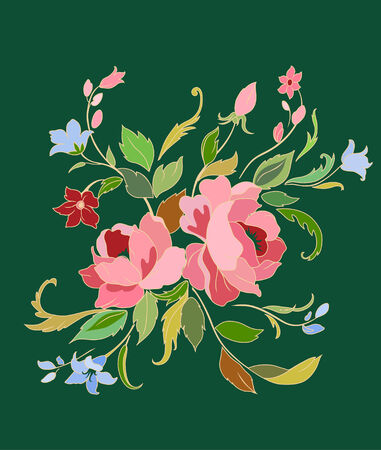 Vector Illuctration of Decorative floral elements with big beautiful flowers Vector