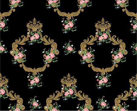 aristocracy: Vector Illuctration of Decorative pattern  with floral  ornament and  big beautiful flowers Illustration