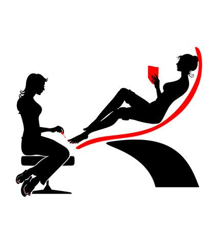 Ilustración vectorial de la mujer bella silueta de spa durante su visita.