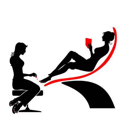 Vector illustration of the beautifull woman silhouette during her spa visiting.  Vector