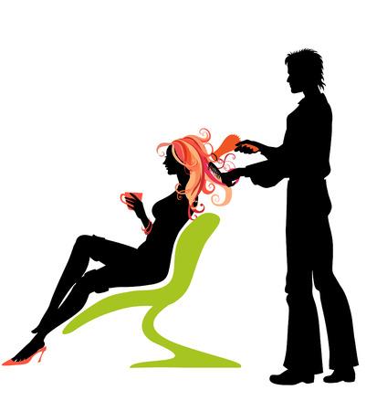 Vector illustration de la silhouette femme magnifique dans un salon de coiffure. Illustration