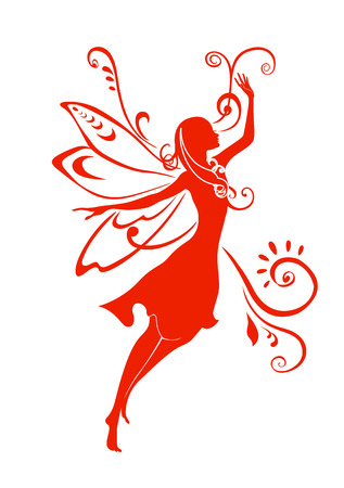Vector Illustration Silhouette of funky fairy on flower pattern design Stock Vector - 4992045