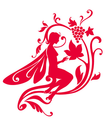 Vector Illustration Silhouette of funky fairy on flower pattern design Stock Vector - 4992069
