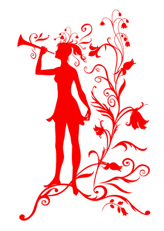 Vector Illustration Silhouette of funky fairy on flower pattern design Stock Vector - 4992072
