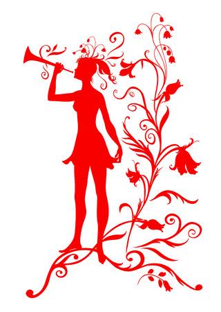 Vector Illustration Silhouette of funky fairy on flower pattern design Stock Vector - 4992072