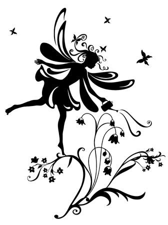 Silhouette de illustration vectorielle de f�es funky sur la conception du mod�le fleur Illustration