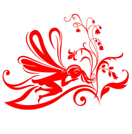 Vector Illustration Silhouette of funky fairy on flower pattern design Stock Vector - 4992047