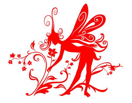 Vector Illustration Silhouette of funky fairy on flower pattern design Stock Vector - 4992040
