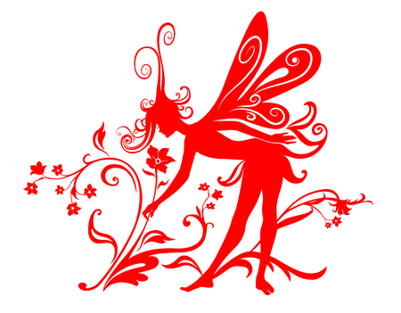 Vector Illustration Silhouette of funky fairy on flower pattern design Stock Vector - 4992040
