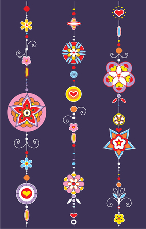arabic style: Vector Illustration of Decorative Wind Chimes with authentic ornament design
