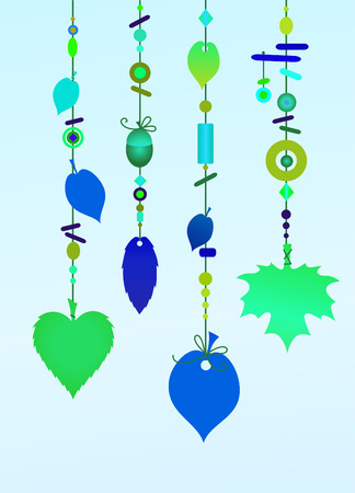 chimes: Vector Illustration of Decorative Wind Chimes with floral leaf shape design Illustration