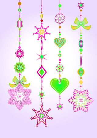 Vector Illustration of Decorative Wind Chimes with fanky snowflake shapes design Illustration